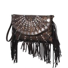 2b01ac2492 Luxcessories Western Crystal Fringe Clutch Purse in dark brown crocodile  pattern