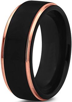 Tungsten Wedding Band Ring 8mm for Men Women Black & 18K Rose Gold Stepped Edge Polished Lifetime Guarantee