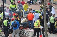 Blasts Rock Marathon: A devastating scene unfolds after twin explosions strike near the finish of the 117th Boston Marathon. | Boston Globe / Getty Images