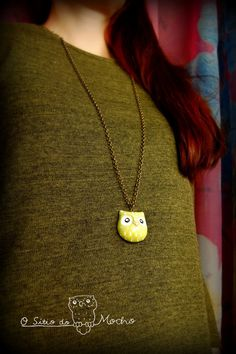 Owl necklace Lime and lemon Etnic style by OSitiodoMocho