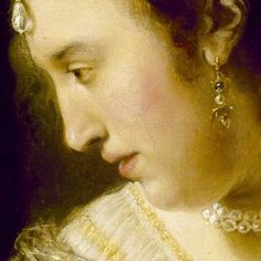 Ferdinand Bol: Donna al tavolo di toeletta. Olio su tela del 1643.47 Houston Museum of Fine Arts, Houston, Texas. Sottilissimi capelli scendono dalla tempia, mentre dalla fronte scende una bellissima perla a goccia. Si guarda nello specchio, ammirando se stessa ed i suoi gioielli.
