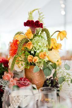 Beautiful Buttercup centerpiece for Tess & Dennis' wedding at Historic Waynesbourough: Nastassja Harvey Photography.