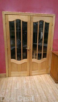 Hardwood internal double door set