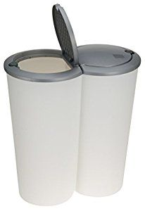 2x 25Lt Round Edge Plastic 2 Compartment Waste Recycle Bin Dustbin & Pop Up Lid: Amazon.co.uk: Kitchen & Home
