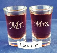 Mr. Mrs. Shot Glasses, Bachelorette/Bachelor, Wedding Toasts, Wedding Party Gifts, Just Because You Like Shots by TheRustyMermaid on Etsy