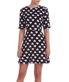 Sugarhill Boutique Black & White Nancy Fit & Flare Dress #dress #hearts