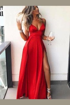 3b90e7bf976814 Affordable Red Spaghetti Strap V-Neck Side Slit Floor Length Evening Prom  Dresses Prom Dress