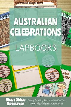 Australian Celebrations Lapbook Templates and Fact Sheets - Ridgy Didge Resources Education Day, History Education, Naidoc Week Activities, Activities For Kids, Australia Day Facts, National Sorry Day, Lap Book Templates, Celebration Around The World, Anzac Day