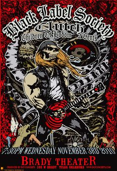 Black Label Society - Clutch - Metal rock music concert psychedelic poster ~ ☮~ღ~*~*✿⊱  レ o √ 乇 !! ~