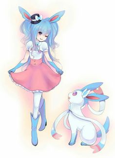 Shiny Sylveon with girl trainer