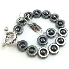 Komplet biżuterii z kamieniami hematyt owale