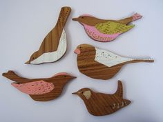 Beautifully made wooden birds by Anna Wiscombe.