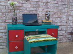 Adorable desk set!  I've always wanted to do a piece in the turquoise and red color scheme!  Chalk painted in Annie Sloan Chalk paint (Florence and Emporer's silk)