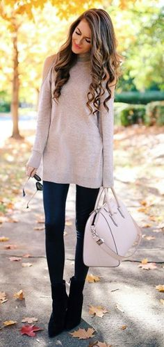 #thanksgiving #outfits Nude Turtleneck Sweater // Leather Leggings // Black Booties // Nude Tote Bag