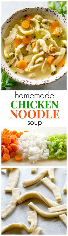 Homemade Chicken Noodle Soup - tried and true comfort food. A recipe for homemade noodles too but you can use store bought as well. the-girl-who-ate-everything.com