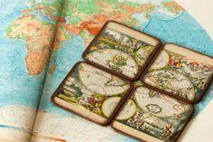 Vintage Orbis World Map Coasters / Rustic Brown Kitchen Set of 4 / Beige SP Travel Coasters ohtteam Secret Santa gift idea ohtteam. $14.00, via Etsy.