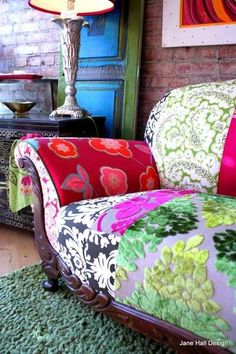 Boho Style, Upcycled, Upholstered, Vintage Sofa Repurposed in Designers Guild Fabrics, by Jane Hall Design - Vintage Bohemian Home Flur Design, Hall Design, Vintage Sofa, Antique Couch, Vintage Fabrics, Designers Guild, Funky Furniture, Custom Furniture, Custom Sofa