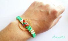 bracelet anneaux dorés et tissus vert, papillon origami papier japonais / collection été 2017 : Bracelet par loonita