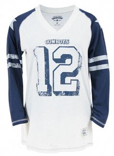 cowboys t shirts for women Dallas Cowboys Women's Double Star Raglan Long Sleeve T-Shirt