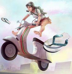 Vespa, Princess Zelda, Motorcycle, Vehicles, Illustration, Anime, Fictional Characters, Art, Wasp