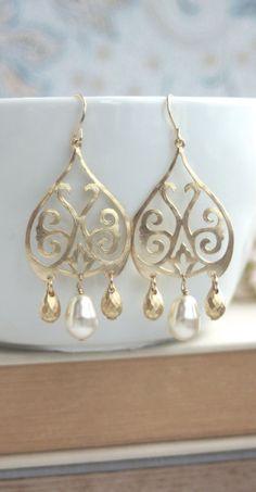 Gold Moroccan, Boho Filigree Ivory Pearls Chandelier Earrings. Gold Drop Earrings by Marolsha  https://www.etsy.com/listing/169418450/gold-moroccan-boho-filigree-ivory-pearls?ref=shop_home_active_8