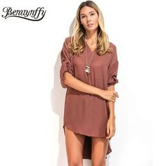 Beachwear Spring Summer Women V Neck Shirt Dress Vintage Casual Solid Ladies Long Sleeve High Low Dress