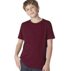 Next Level Boys' Maroon Premium Short-sleeved Crew T-shirt