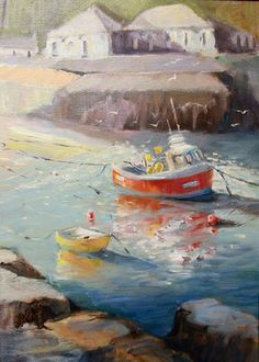 Painting of Port Isaac Cornwall, In Port Isaac Pottery Scilly Isles, Port Isaac, Cornwall England, Fishing Villages, Art For Art Sake, Watercolours, Art Studios, Gouache, Something To Do