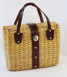 Large Box Style Wicker Handbag Handmade In By Alleycatsvintage 68 00