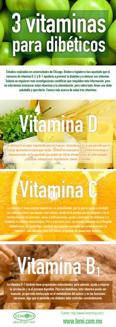 Infografía: 3 #vitaminas para diabéticos. #salud y #bienestar