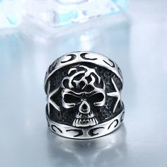 Man Punk Skull Ring For Man Factory Price Stainless Titanium Steel Jewelry Black Rings, White Gold Rings, Steel Jewelry, Jewelry Rings, Diy Jewelry, Male Jewelry, Handmade Jewelry, Men's Fashion Jewelry, Unique Rings