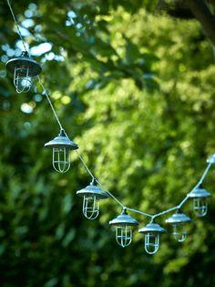 NEW Solar Zinc Lantern String Lights - Outdoor Accessories - Outdoor Lantern String Lights, Lanterns, Wall Lights, Garden Picnic, Outdoor Lighting, Outdoor Decor, Contemporary Garden, Beautiful Space, Downlights