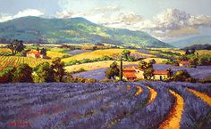 $195 'Purple Panorama' by Erin Dertner ~ 16 x 22 - Impressionist Oil painting of rows upon rows of fragrant lavender in Sault, Provence, France. Artwork is a Signed and Numbered Limited Edition Giclée Reproduction on premium quality paper.