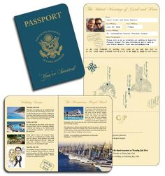 US Passport Invitation - Traditional colours of Navy and Gold can also be customised to suit your theme/wedding colours.