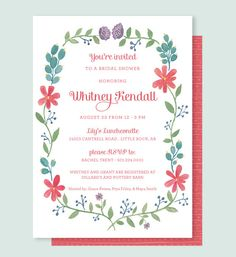 Watercolor Floral Bridal Shower Invitation, Garden Party Shower Invitation, Summer Wedding Shower Invitation, Flower Bridal Invitation by Leveret Paperie