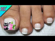 DISEÑO DE UÑAS GATICA PARA PIES - CAT NAIL ART - UÑAS DE GATA PASO A PASO - NLC - YouTube Pedicure Nail Art, Toe Nail Art, Toe Nails, Acrylic Nails, Animal Nail Designs, Toe Nail Designs, Hello Nails, Disney Inspired Nails, This Little Piggy
