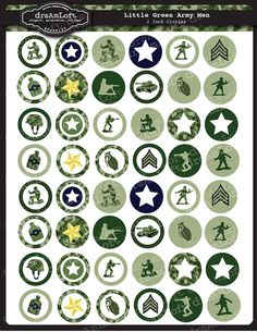 Little Green Army Men Collection 1 x 1 Inch Round Circles for stickers, buttons, tags, pendants, cup Military Party, Army Party, Party Table Decorations, Party Themes, Ideas Party, Imprimibles Toy Story, Army Decor, Green Army Men, Partying Hard