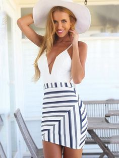 White Deep V-neck Lace Stitching Striped Party Bodycon Harness Dress