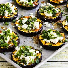 Grilled Eggplant with Feta. Low-Carb Grilled Eggplant with Garlic-Cumin Vinaigrette Feta and Herbs is amazing try grilled eggplant if you've never cooked eggplant! Gourmet Recipes, Vegetarian Recipes, Healthy Recipes, Milk Recipes, Easy Recipes, Ways To Cook Eggplant, Grilled Eggplant Recipes, Baked Eggplant, Clean Eating Snacks