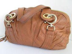 Goldenbleu Tan Leather Pleated Large Shoulder Bag