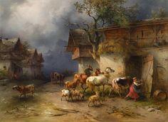 Friedrich Gauermann (1807 - 1862) Heimeilendes Vieh, 1854 Öl auf Holz 57,5 × 78 cm Verkauft um: 151.200€ Modern Art, Contemporary Art, Friedrich, Wild Horses, 19th Century, Art Nouveau, Cool Art, Art Pieces, Auction