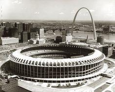 Busch Stadium and the Gateway Arch, 21 September 1967.