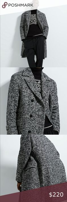 Esprit Wool Blend Herringbone Coat With Faux Fur Trimmed Hood  Grey//White  NWT