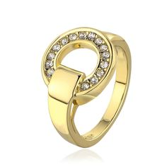 R654-8 Wholesale High Quality Nickle Free Antiallergic New Fashion Jewelry 18K Gold PlatedRing