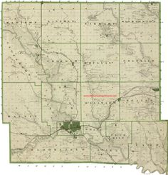 Map of 1875 Polk County, Iowa with Des Moines, IA and numerous other locations.  From the My Genealogy Hound website where enlargements of each of the townships in Polk County can be viewed.