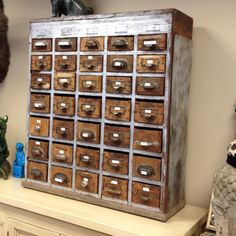 Vintage drawers!!!! Love all the mis match drawer pulls..... Haystacks Antiques, Bellevue WA