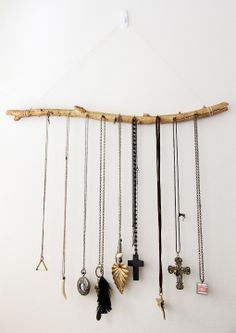 simple tree branch hanging jewellery display