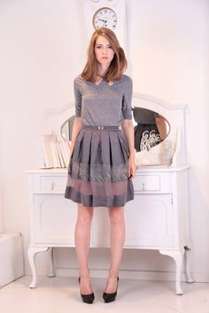 Hidenseek aline grey skirt from mixed materials by SauleClothing, €55.00 latviateam