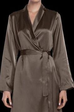 e52643b79d La Perla Luxurious Long Silk Robe Large Taupe Wrap Style Vestaglie