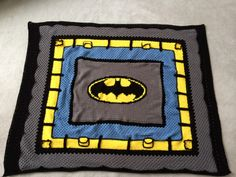 Crochet Superhero Batman Blanket.  Can be found on facebook!  My Victoria Rose.